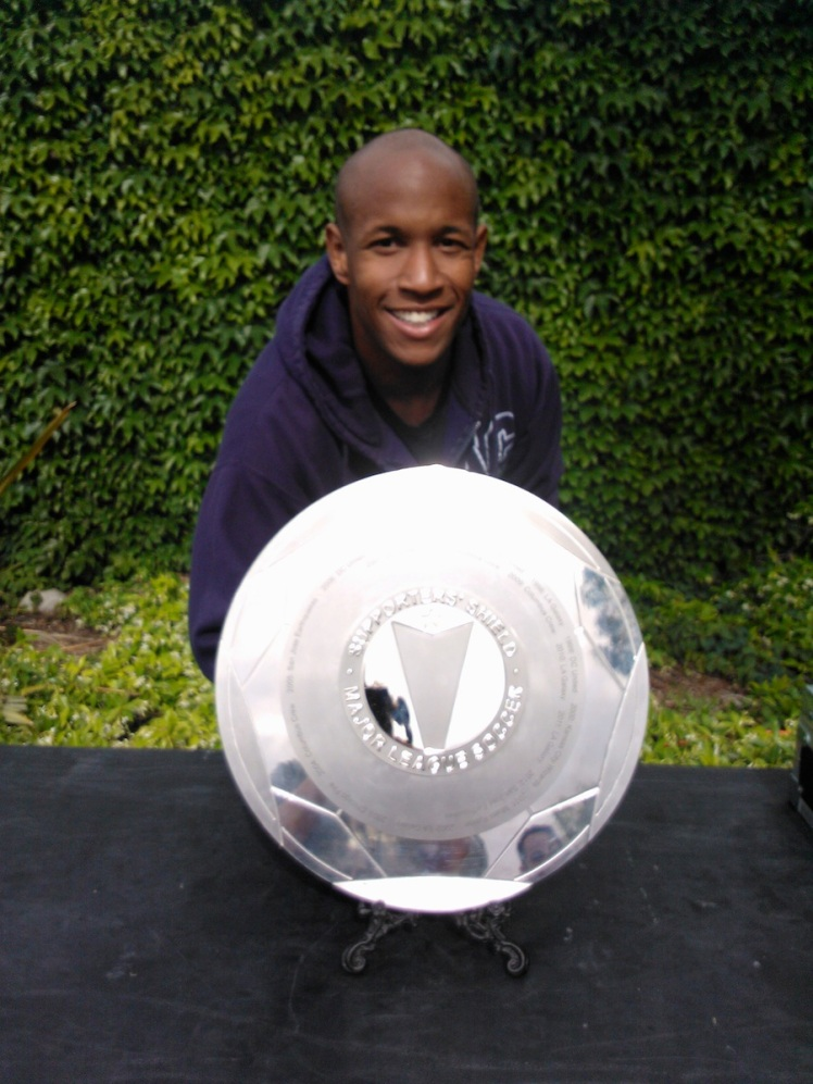 Here I am behind the actual MLS Supporters Shield.