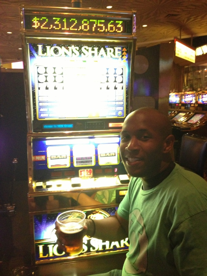 "Me at the legendary ""Lion's Share"" slot machine in Las Vegas"