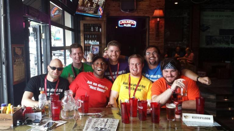 Me with the Entertainment Distilled Podcast crew. @Nextroundonus