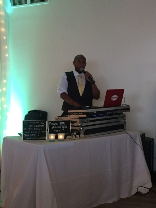 Flobo shows off MC skills at a Wedding.